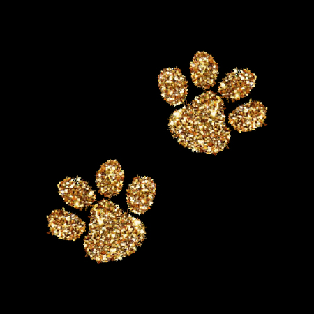 Gold glitter animal footprint isolated on background. Vector illustration. Art icon. Creative concept for web, glow light confetti, bright sequins, sparkle tinsel, abstract bling, shimmer dust.