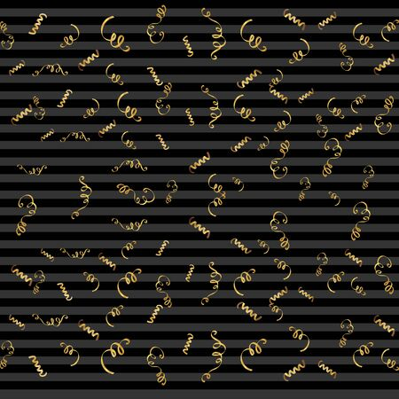 streamers: Serpentine ribbons, isolated on background. Streamers confetti . Vector Illustration of Golden decoration. Falling golden decoration for party, birthday celebrate, anniversary or event, festive.