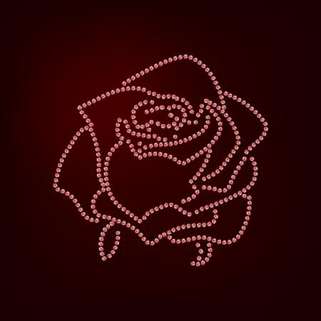 Rose sketch. Rose sketch. Flower design dotted outline. Vector illustration. Elegant floral outline design. Ped symbol isolated on dark background. Abstract rose. Good for design, logo or decorationFlower design dotted outline. Vector illustration. Elegan