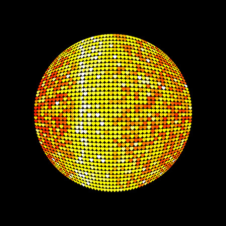 Golden disco ball. Shiny illuminated disco ball on a dark background for design flyers posters and other. Vector illustration with a glass disco ball. Illustration