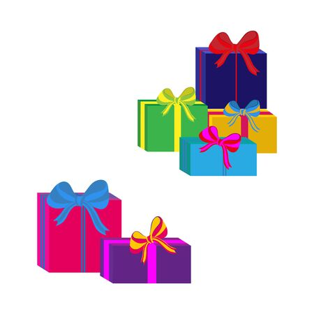 Set of different colorful wrapped gift boxes. Flat design. Beautiful present with bow. Symbol and icon for Christmas gift box. Isolated vector illustration. Illustration