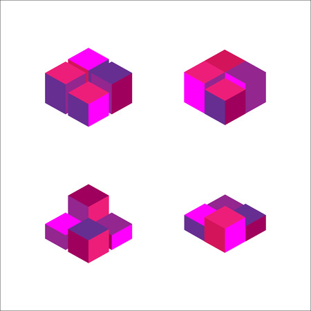 set of geometric cube. Fashion graphic design.Vector illustration. Background design. Optical illusion 3D. Modern stylish abstract texture. Template for print, textile, wrapping and decoration Illustration