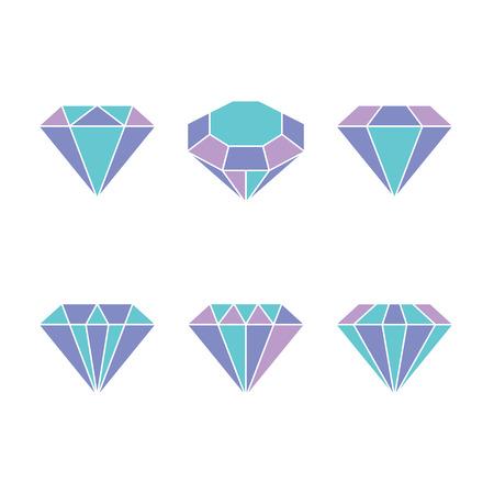 Diamond set icon. Vector Illustration. Shiny crystal sign. Brilliant stone. Colorful crystal isolated on white background. Fashion modern design. Flat element. Symbol gift, jewel, gem or royal, rich.