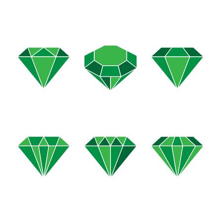 Diamond set icon. Vector Illustration. Shiny crystal sign. Brilliant stone. Green crystal isolated on white background. Fashion modern design. Flat element. Symbol gift, jewel, gem or royal, rich. Illustration