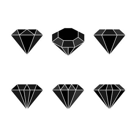 Diamond set icon. Vector Illustration. Shiny crystal sign. Brilliant stone. Black crystal isolated on white background. Fashion modern design. Flat element. Symbol gift, jewel, gem or royal, rich.