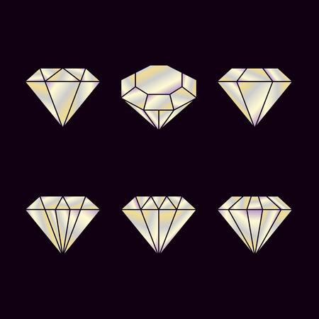 Diamond set icon. Vector Illustration. Shiny crystal sign. Brilliant stone. Crystal isolated on Black background. Fashion modern design. Flat element. Symbol gift, jewel, gem or royal, rich.