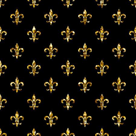 fleur-de-lis seamless pattern. Ols style template. Floral classic texture. Fleur de lis royal lily retro background. Design vintage for card, wallpaper, wrapping, textile. Vettoriali