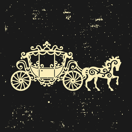 brougham: Horse-Carriage silhouette with horse. Vector illustration of brougham in baroque style. Vintage carriage isolated on dark background. Good for design, invitation card, logo or decoration