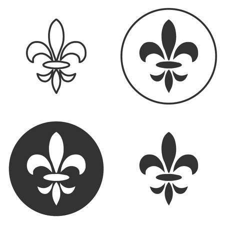 royal french lily symbols: Collection of fleur de lis symbols, black silhouettes - heraldic symbols. Vector Illustration. Medieval signs. Glowing french fleur de lis royal lily. Elegant decoration symbols.