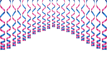 party streamers: Serpentine ribbons, isolated on background. Streamers confetti . Vector Illustration of violet decoration. Falling light decoration for party, birthday celebrate, anniversary or event, festive.
