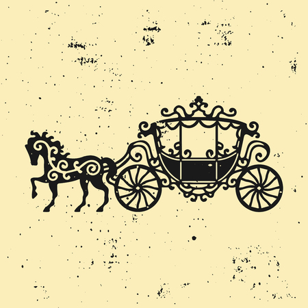 brougham: Horse-Carriage silhouette with horse. Vector illustration of brougham in baroque style. Vintage carriage isolated on dark background. Good for design, invitation card.