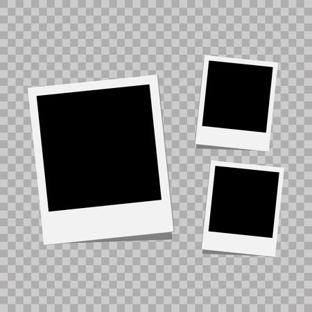 Photo frame. White plastic border on a transparent background. Vector illustration. Photorealistic Vector EPS10 Retro Photo Frame Template