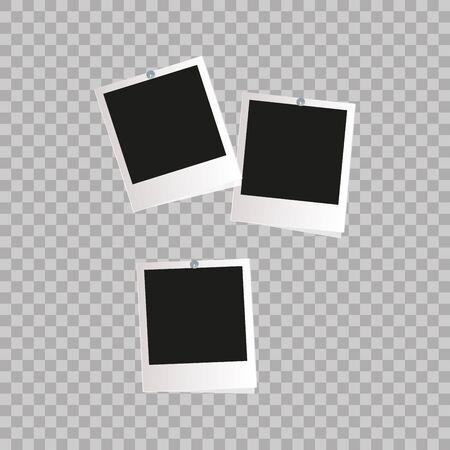 poloroid: Photo frame. White plastic border on a transparent  . Vector illustration.  Vector EPS10 Retro Photo Frame Template