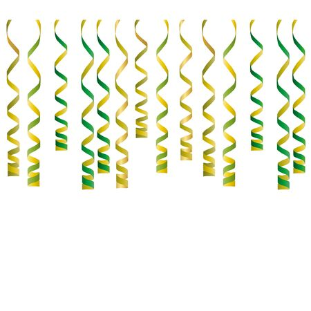 party streamers: Serpentine ribbons, isolated on background. Streamers confetti . Vector Illustration of green decoration. Falling light decoration for party, birthday celebrate, anniversary or event, festive. Illustration