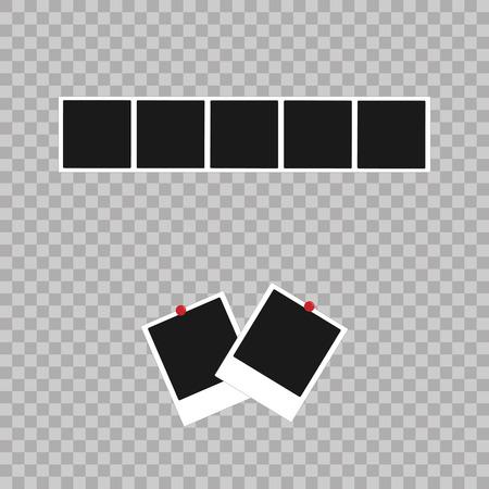 poloroid: Photo frame. White plastic border on a transparent background. Vector illustration. Photorealistic Vector EPS10 Retro Photo Frame Template Stock Photo