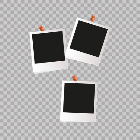 poloroid: Photo frame. White plastic border on a transparent background. Illustration