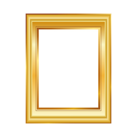 Golden frame isolated on white background. Classic style composition. Blank picture frame template. Modern design element for you product mock-up or presentation.
