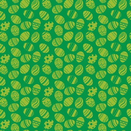 joyful: Easter eggs ornaments seamless pattern. Easter holiday green background for printing on fabric.