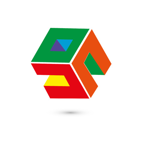 Concept de logo cube coloré, illustration vectorielle. Style design plat. Construction de cube. Modèle de signe. Conception graphique. Texture abstraite de fond de mode. Modèle pour impression, textile, emballage.