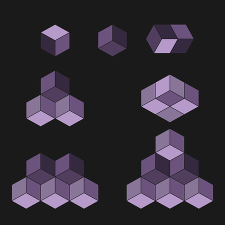 Concept de logo de cube, illustration vectorielle. Style design plat. Construction de cube. Modèle de signe. Conception graphique. Texture abstraite de fond de mode. Modèle pour impression, textile, emballage.