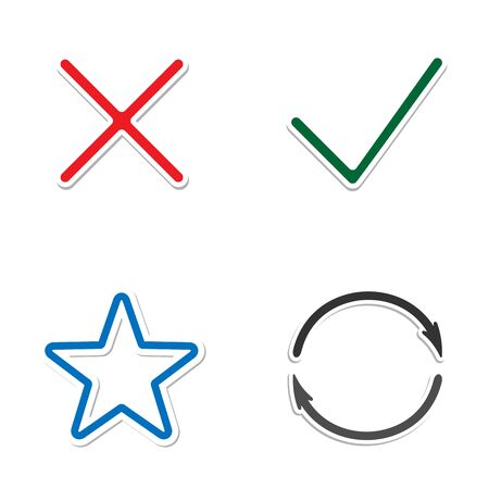 Web Icons. Check mark and Cross Icons. star and circle with arrows. Simple icon on white background. Modern mono solid plain flat minimal style. Vector illustration web design elements Stock Photo