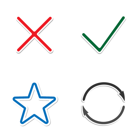 Web Icons. Check mark and Cross Icons. star and circle with arrows. Simple icon on white background.