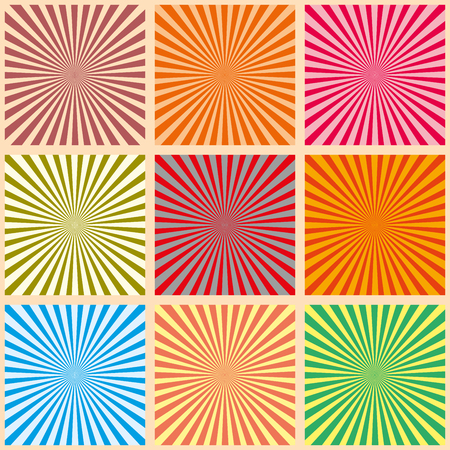 Set of colorful rays. Vector Illustration. Retro sunburst background. Grunge design element. Black and white backdrop. Good for pictures, wallpapers