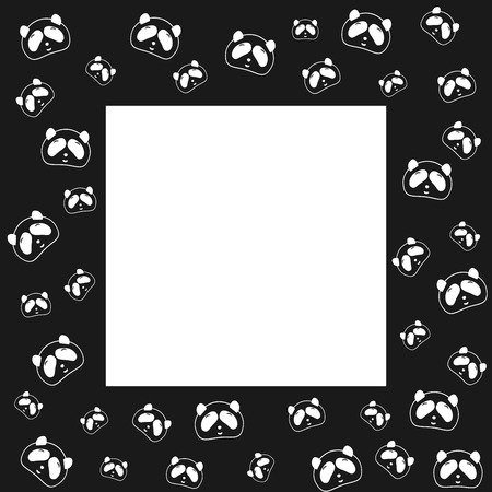 fabric textures: Cute Panda bear. Frame design, black and white background. Vector illustration. Panda head and face. Design for wallpaper and fabric, web page background, surface textures. Illustration