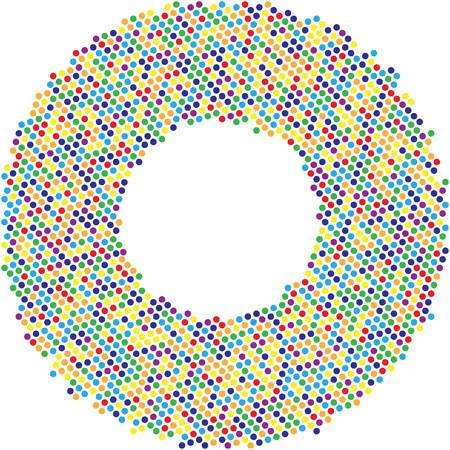 Circle with dots for Design Project. Halftone effect vector illustration. Colorful dots on white background. Colrful Sunburst background. Round frame design template. Illustration