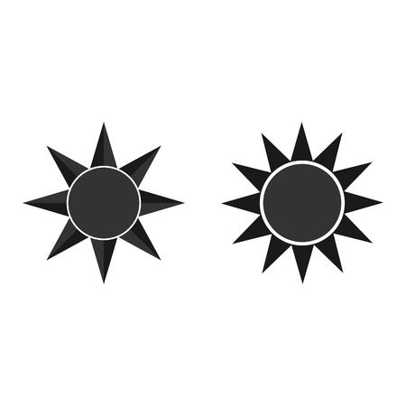 Sun vector black icon. Element for design. Vector Illustration. Vetores