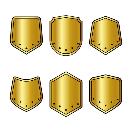 Set of golden shields with stars in trendy flat style isolated on white background. Herald logo and medieval Shield symbol for your web site design, logo. Vector illustration. EPS10. Illustration
