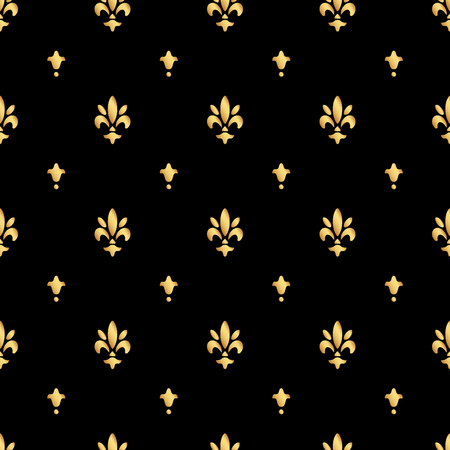 Golden fleur-de-lis seamless pattern. Gold template. Floral classic texture. Fleur de lis royal lily retro background. Design vintage for card, wallpaper, wrapping, textile. 向量圖像