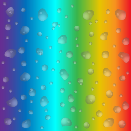 Realistic water drops on colorful background. Vector illustration. Clean drop condensation can be used with any background. For banner, flyer, invitation. Illustration