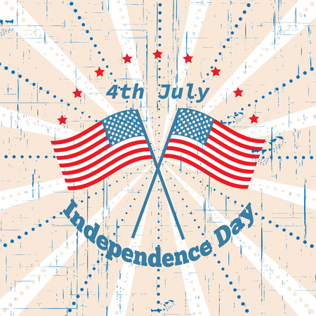 American Independence Day 4 th july. Greeting card design. National flag. Vector illustration. Patriotic symbol holiday poster. Happy independence day, USA Celebration wallpaper.