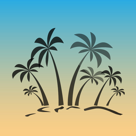high sea: Palm trees silhouette on island. Vector illustration. Tropical exotic plant isolated on background. Modern hipster style apparel, poster, brochure design. Illustration