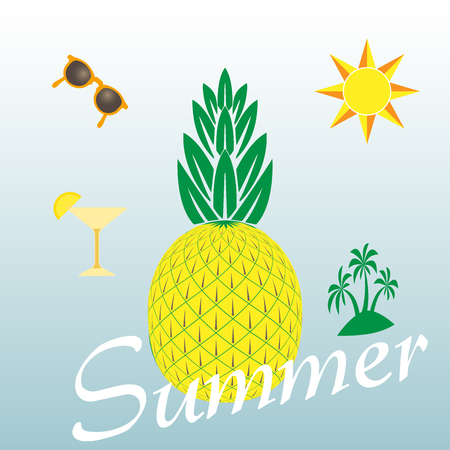 themed: Summer themed background with palm trees and cocktail glass, pineapple and sun. Colorful vector illustration. Summertime tropical design. Sunbathing activity template for advertisement, promotions. Illustration