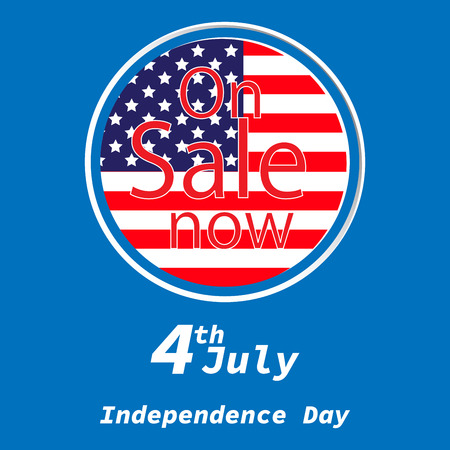 Sale for American Independence Day 4 th july. Discount poster design. National flag.