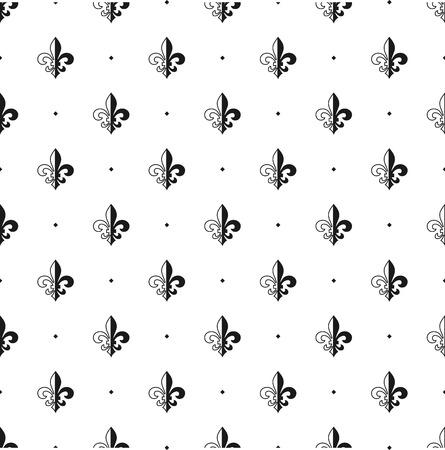 Fleur Illustration fleur-de-lis seamless pattern. vector illustration. black white
