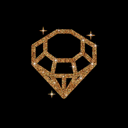 karat: Diamond glitter Vector Illustration. Shiny crystal sign. Brilliant stone isolated on dark background. Fashion modern design. Flat element. Symbol gift, jewel, gem or royal, rich.