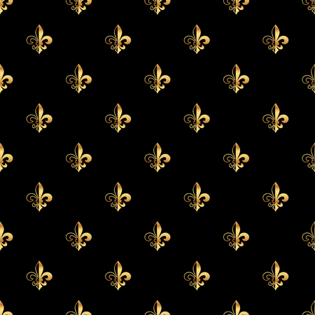 Golden fleur-de-lis seamless pattern. Gold template. Floral classic texture. Fleur de lis royal lily retro background. Design vintage for card, wallpaper, wrapping, textile. Illustration