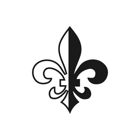 Fleur de lis symbol, silhouette - heraldic symbol. Vector Illustration. Medieval sign. Glowing french fleur de lis royal lily. Elegant decoration symbol. Heraldic icon for design, logo or decoration. Illustration