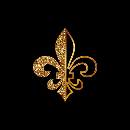 Fleur de lis symbols, golden glittering silhouettes - heraldic symbols. Vector Illustration. Medieval signs.Glowing french fleur de lis royal lily. Elegant decoration symbols. Illustration