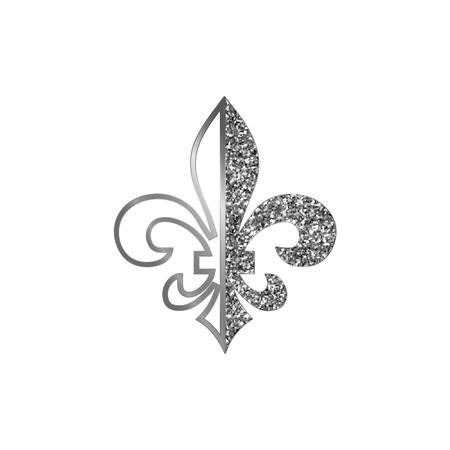 Fleur de lis symbols, silver glittering silhouettes - heraldic symbols. Vector Illustration. Medieval signs.Glowing french fleur de lis royal lily. Elegant decoration symbols.