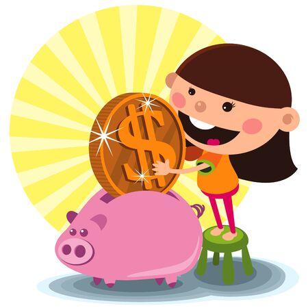 A girl Saving money to piggy Bank