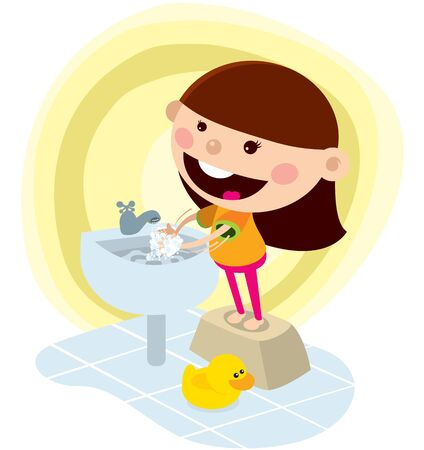 A girl washing hand