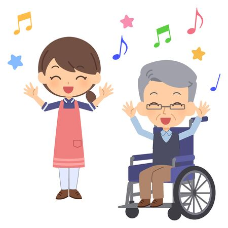 The elderly people dancing with a smile
