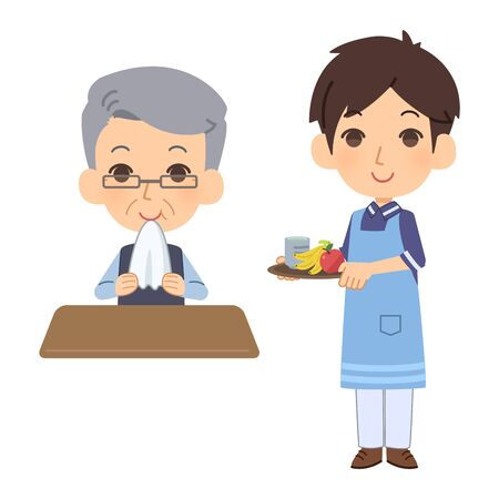 Caregiver giving food to dementia patient Ilustrace