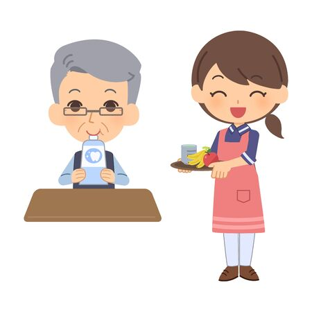 Caregiver giving food to dementia patient