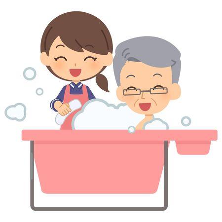 Caregiver helping bathing