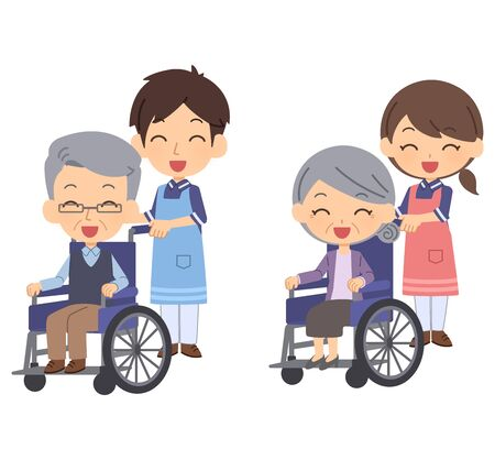 Elderly person and caregiver in wheelchair